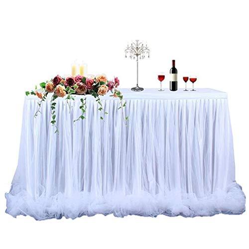 Springcmy Tüll Tischrock Tutu Tischrock Party deko Für Hochzeit,Geburtstag,Weihnachten Tischdecke (Weiß, OneSize)