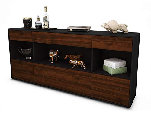 Stil.Zeit Sideboard Fabiana/Korpus anthrazit matt/Front Holz-Design Walnuss (180x79x35cm) Push-to-Open Technik & Leichtlaufschienen