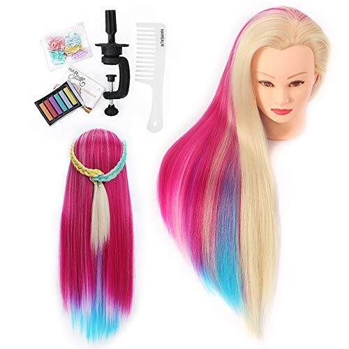 Ubungskopf, HAIREALM Frisierkopf DIY Haar Styling Mehrfarbig Perückenkopf Puppenkopf 100% Synthetischem Haar Trainingsköpfe für Friseure mit Zubehör ESACH1P