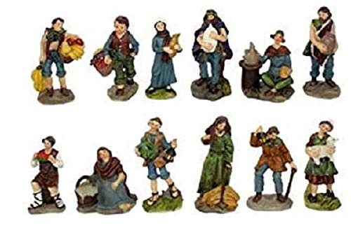 Statuine Da Presepe Natività In Poliresina Da 9 Cm - 12 Pezzi In 1 Scatola Assortita - Versione Economia