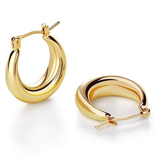 LILIE&WHITE Chunky Gold Hoop Earrings for Women Cute Fashion Hypoallergenic earrings Minimalist Jewelry Gift