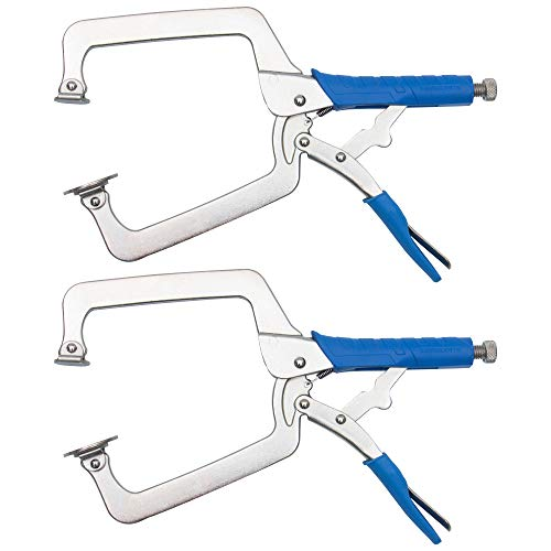 DRAGONITE Heavy Duty C Clamp, Vise Grip Locking Pliers With Swivel Pads, 18 Inch Face Clamp for Woodworking, Welding and Pocket Hole Joinery, 2 Piece