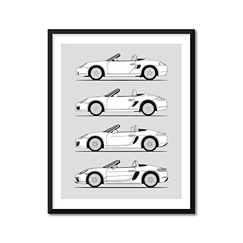 Porsche Boxster Generations Inspired Poster Print Wall Art Handmade Decor of the History and Evolution of the Boxster 986, 987, 981, 718