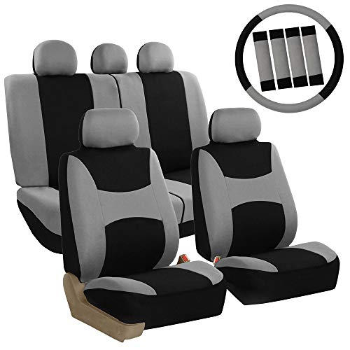 FH Group FB030GRAYBLACK115-COMBO Seat Cover Combo Set with Steering Wheel Cover and Seat Belt Pad (Airbag Compatible and Split Bench Gray/Black) Nebraska