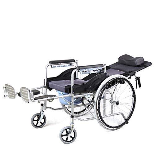 Wheelchair commode Silla De Ruedas De Inodoro Plegable/Silla De Ducha/Silla De Ruedas Reclinable/Asiento con Patas Plegables Ajustables - Almohadilla De Limpieza ExtraíBle/Capacidad De 220 LB