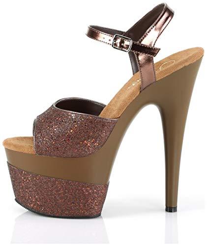 Pleaser - 7' Heel, 2 3/4' PF Ankle Strap Sandal w/Glitter Wrapped PF - 8