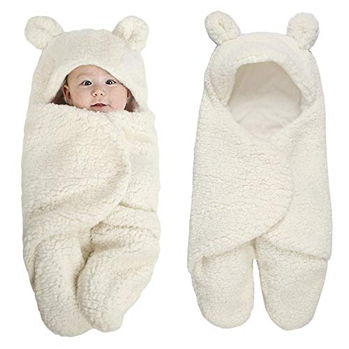 Saco de dormir para bebés con mangas extraíbles,Manta de piel de cordero para niños pequeños, saco de dormir de bebé con pierna dividida engrosada-Blanco lechoso_0-29 de marzo * 55cm,Súper Suave y cá