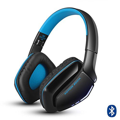 Cuffie Wireless Bluetooth KOTION EACH Gameing per PS4, Xbox One S, PC, Tablet, iPhone 5/5s 6/6S plus 7, Samsung S3/S4,HTC, Huawei, LG, Xiaomi, ipad e Mac Pieghevoli con Microfono Nero e Blu
