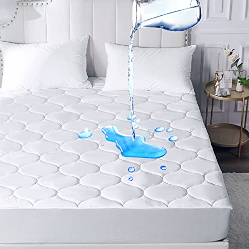 WhatsBedding Waterproof Mattress Pad Queen Size Microfiber Top with Down Alternative Filling Pillowtop Mattress Topper Cover-Fitted Quilted (Mattress Pad Queen)
