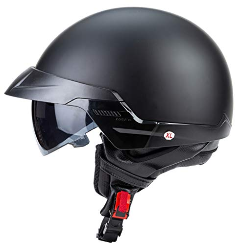 Retro Casco Moto Abierto,Dot Homologado,Profesional Half Moto Cascos Helmet para Mujer y Hombre,Adultos Confortable Casco Moto Jet para Street Bike Cruiser Chopper Scooter