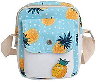 SODIAL Fresh and Cute Cartoon Fruit Pineapple Shoulder Bag Funny Girl Mobile Phone Messenger Bag Small Purse Blue