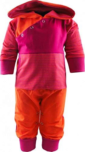 KLEINER FRATZ gestreiftes Baby/Kinder Langarm Kaputzen Overall Kairo mit Bauchtasche (Farbe orange-Fuchsia/pink) (Größe 86/98)