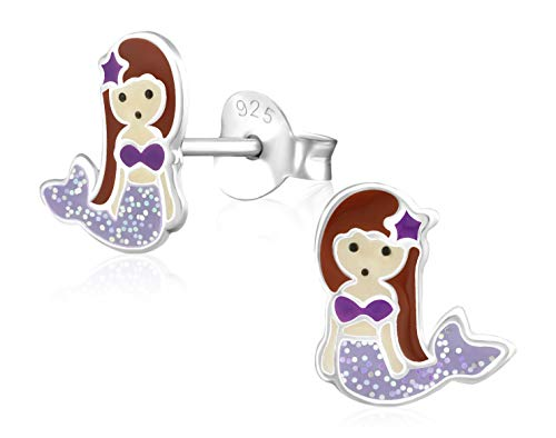 Laimons Mädchen Kids Kinder-Ohrstecker Ohrringe Kinderschmuck Meerjungfrau Seejungfrau Fischfrau Lila Braun Glitzer aus Sterling Silber 925