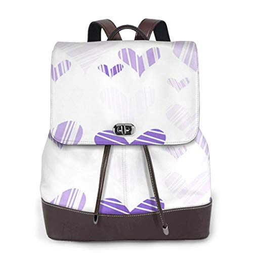 Women Leather Backpack Hatched Mauve Hearts Day Endless, Schoolbag Casual Daypack School Travel Bag Satchel Laptop Backpacks for Women