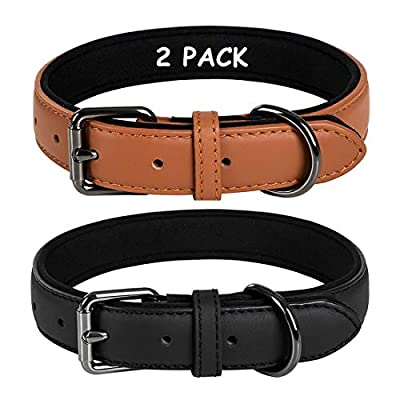Coohom 2 Pack Genuine Leather Soft Waterproof Fabric Padded Dog Collars,Durable Adjustable Leather Pet Collars for Small Medium Large Dogs Black Red Blue Orange Yellow Brown (Medium, Black+Brown)