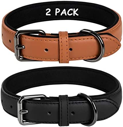 Coohom 2 Pack Genuine Leather Soft Waterproof Fabric Padded Dog Collars Durable Adjustable Leather product image