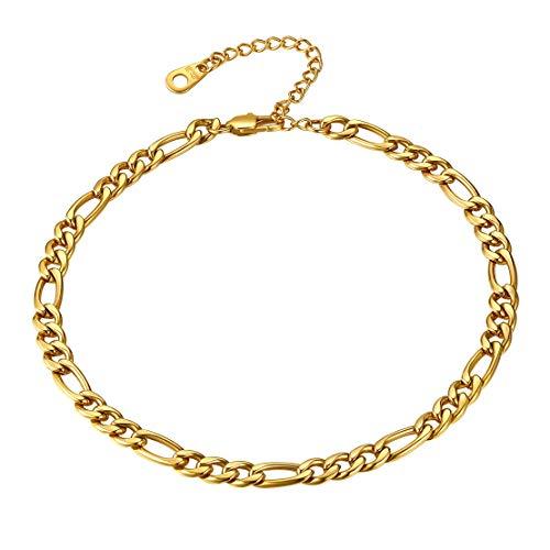 FindChic vergoldet Figarokette Fußkettchen Damen Fußkette 22cm lang für Party jeden Tag