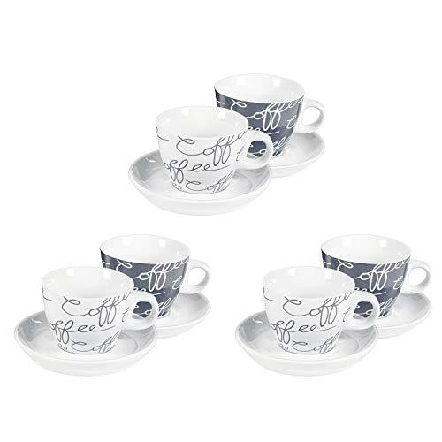 Flirt by R&B 531060 Cornello grey Espressotasse 80 ml mit Untertasse Ø 11cm, grau/weiß, 12-teilig (1 Set)