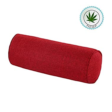 16x6 Inch Round Neck Pillow For Neck Backrest for Car or Office Chair Sofa, Semi-Roll Pillow With Washable Organic Cotton Cover(Wine red)