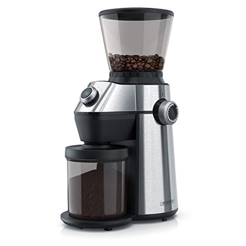 Arendo - elektrische Kaffeemühle mit Kegelmahlwerk in Edelstahl - 150 Watt - Coffee Grinder - 15 Mahlgradstufen 360 g Füllmenge Automatikverschluss Aromaschutz - Schutzschaltung - GS zertifiziert