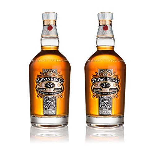 Chivas Regal 25 años Blended Scotch Whisky 2er Set, Whiskey, Schnaps, Spirituose, Alcohol, Botella, 40%, 2x700 ml