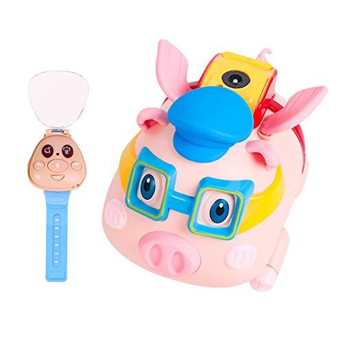 Lanceasy Seifenblasenmaschine Kinder, Automatische Elektrische Seifenblasen Pig Spray Watch Fernbedienung Musik,Bubble Machine