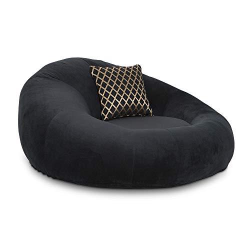 Seatcraft 1971 Bella Fabric Home Theater Seat Foam Round Lounge Cuddle Chair, Sofa, Black