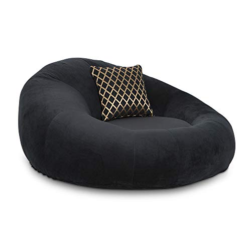 Seatcraft 1971 Bella Fabric Home Theater Seat Foam Round Lounge Cuddle Chair, Sofa, Black