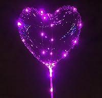 (イエローパンダ) LED バルーン ハート 透明 クリア 光る 風船 繰り返し使用可能 ウェディング ブライダル パーティー ピンク 10枚セット
