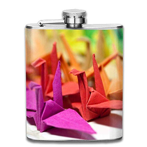 Origami Paper Crane Cute Fashion Portable Stainless Steel Hip Flask Whiskey Bottle 7 Oz