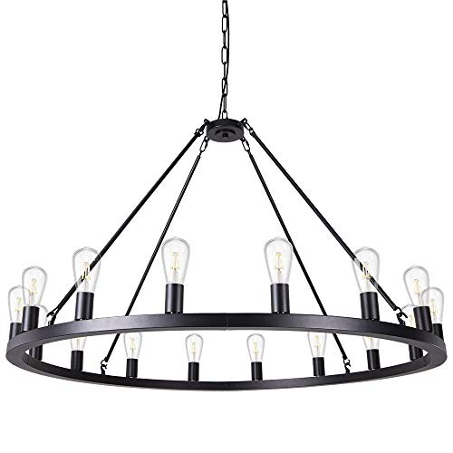 Wellmet Matte Black Wagon Wheel Chandelier 16-Light Diam 47 inch, Farmhouse Rustic Industrial Country Style Large Round Pendant Light Fixture for Dining Room, Living Room