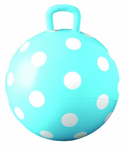 Hedstrom Blue Polka Dot Hopper Ball, Kid's Ride-on Toy, Bouncy Hopping Ball with Handle - 15 Inch