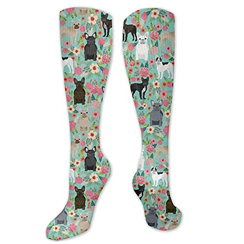 lvhrui Florals Cute French Bulldogs Compression Socks Women & Men 10-20mmhg Travel Tube Thigh High Tights Over Knee Socks Casual High Stockings