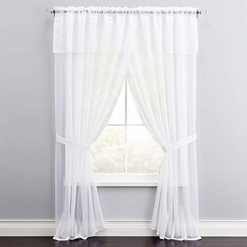BrylaneHome Sheer Voile 5 Piece One-Rod Curtain - 60I W 84I L, White