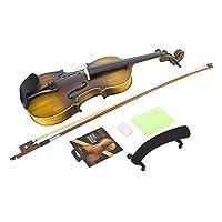 バイオリン セット 無垢材チンレスト 人間工学 安全性 滑らか 変形しにくい ウッドヴァイオリン 初心者用(AV-206マット)