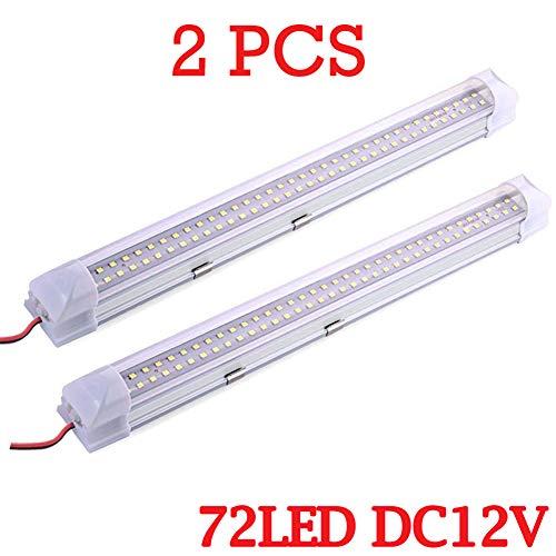 12V 72 LEDs Innenbeleuchtung Lampe Streifenleiste Universal für Wohnmobil Van Bus Wohnwagen Boot Wohnmobil Küche Bad 340MM (2 Stk)