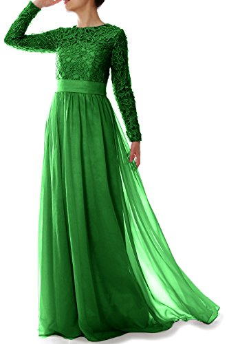 MACloth Women Lace Formal Party Evening Gown Long Sleeve Mother of Bride Dress (34, Green)