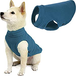 Gooby Stretch Fleece Dog Vest – Steel Blue, Medium – Pullover Fleece Dog Sweater – Warm Dog Jacket Dog Clothes Sweater Vest – Dog Sweaters for Small Dogs to Large Dogs for Indoor and Outdoor Use