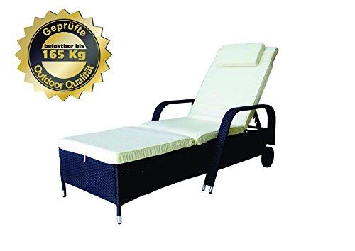 MK Outdoor Rattanliege Lounger Deluxe-S Outdoor, belastbar bis 165 kg, inklusive Bequeme abwaschbare Auflage und Kopfkissen, schwarz, Gartenliege, Relaxliege, Liegestuhl, Sonnenliege Rattanmöbel