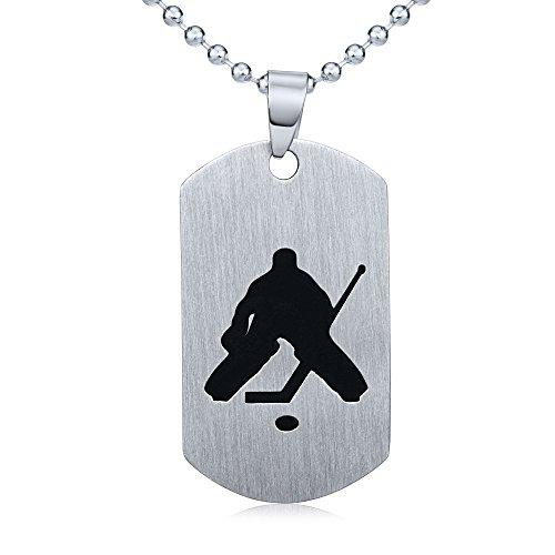 SILVEGO Herren Anhänger aus Edelstahl Dog Tag Eishockey Torwart mit der Kette 60 cm