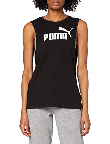 PUMA ESS+ Cut Off Tank Camiseta De Tirantes, Mujer, Negro (Cotton Black), S