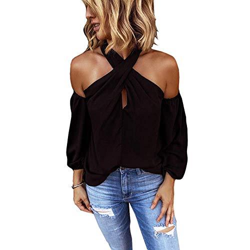 Minetom Damen Oberteile Elegant Bluse Damen Sexy Schulterfrei Neckholder Langarmshirt Casual T-Shirt (36, Schwarz)