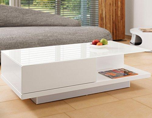 SalesFever Couch-Tisch weiß Hochglanz mit Schublade 120x60cm recht-eckig | Carla | Moderner Wohnzimmer-Tisch mit Tischplatte aus Kristallglas Weiss 120cm x 60cm