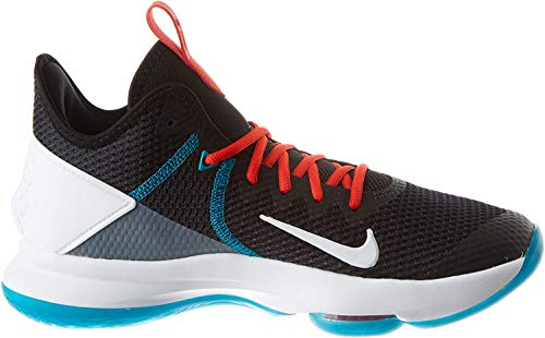 Nike Lebron Witness IV, Scarpe da Basket Uomo, Black/White/Chile Red/Glass Blue/Dk Smoke Grey/Univ Red, 42.5 EU