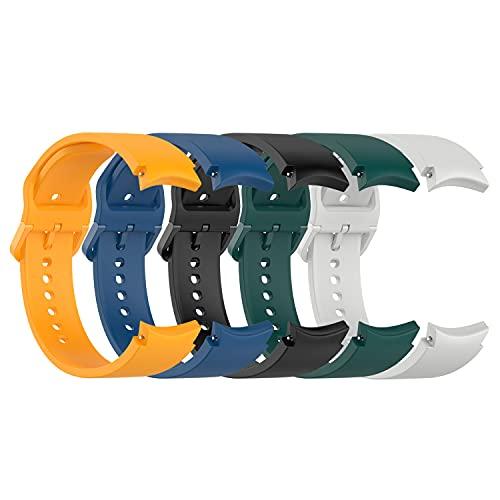 Paquete de 5 correas Chofit compatibles con Samsung Galaxy Watch 4 Classic 42 mm/46 mm, reloj 4 40 mm/44 mm, correa de silicona clásica para Galaxy Watch4 Smartwatch (5A)