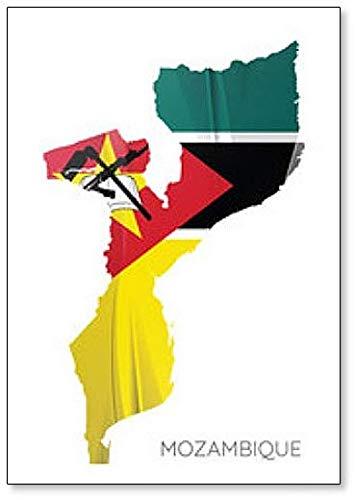 Kühlschrankmagnet, Motiv Landkarte von Mosambik mit Flagge