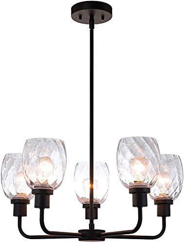 Lámpara de techo, lámparas de araña 5 lámparas negras, lámparas de cristal de estar