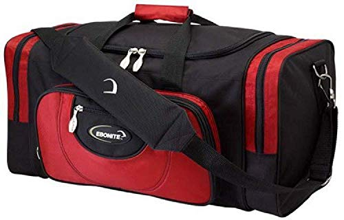 EMAX Bowling Service GmbH MAXIMIZE YOUR GAME Ebonite Conquest - Double Tote - Multi - Schuhfach, Bowlingtasche für Zwei Bowlingbälle und Bowlingschuhe Farbe SCHWARZ/ROT