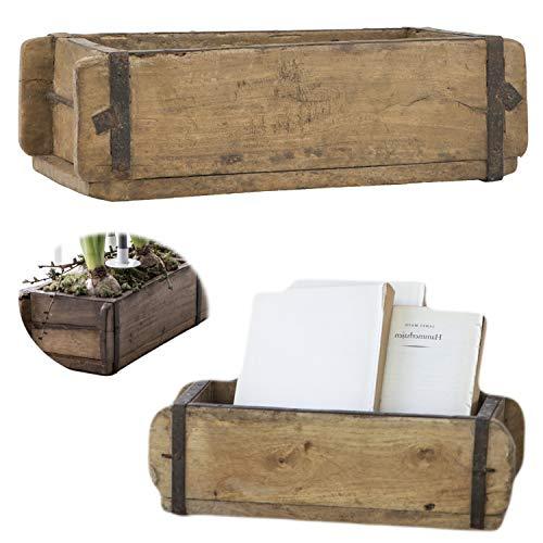 LS-LebenStil Holz Aufbewahrung-Box Ziegelform 1-Fach Braun 31x15x9,5cm Unika