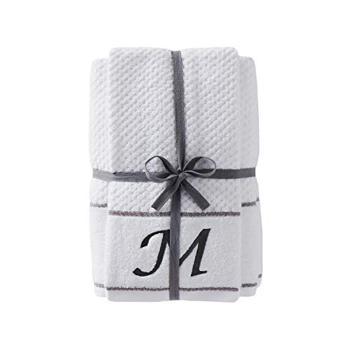 "SKL Home by Saturday Knight Ltd. Monogram ""M"" Bath and Hand Towel Set, White, 4-pack"